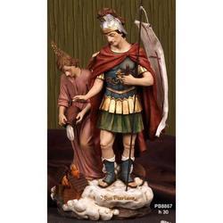 Statua San Floriano con Angelo cm 30 in resina