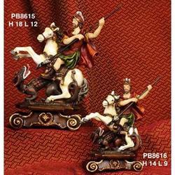 Statua San Giorgio a Cavallo con Drago cm 18x12 in resina