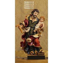 Statua Sacra di San Giuseppe con Bambino cm 14 resina
