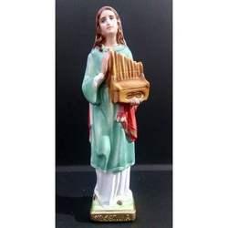 Statua Santa Cecilia cm 20 in gesso