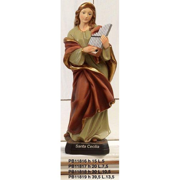 Statua Santa Cecilia cm 15 in resina