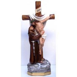 Visione di San Francesco Assisi cm 39 in gesso