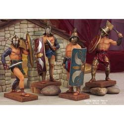 Set di 4 Gladiatori Romani da cm 12.5 in resina