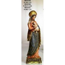 Statue Sacre di Madonna con Bambino cm 21.5 resina