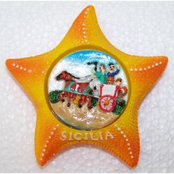 Magnete Stella Marina con Carretto Siciliano in resina cm 7x7
