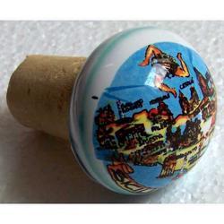 Tappo in sughero con decoro in ceramica cm 6x4