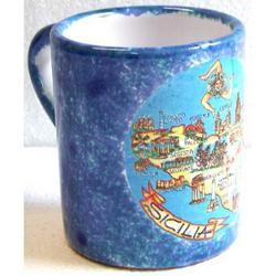 Tazza Sicilia con manico in ceramica cm 9.5x7.5