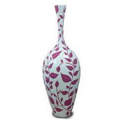 Vaso decorato con foglie in vetroresina cm 142