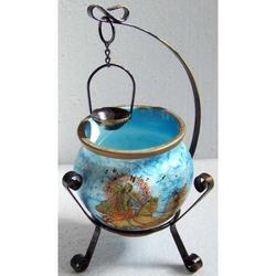 Vaso pozzo in ceramica decorato cm 9x18 con supporto in metallo