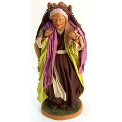Personaggio per Presepe Vecchietta con uva cm 22 terracotta