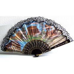 Ventaglio souvenir con Templi Siciliani cm 45x25